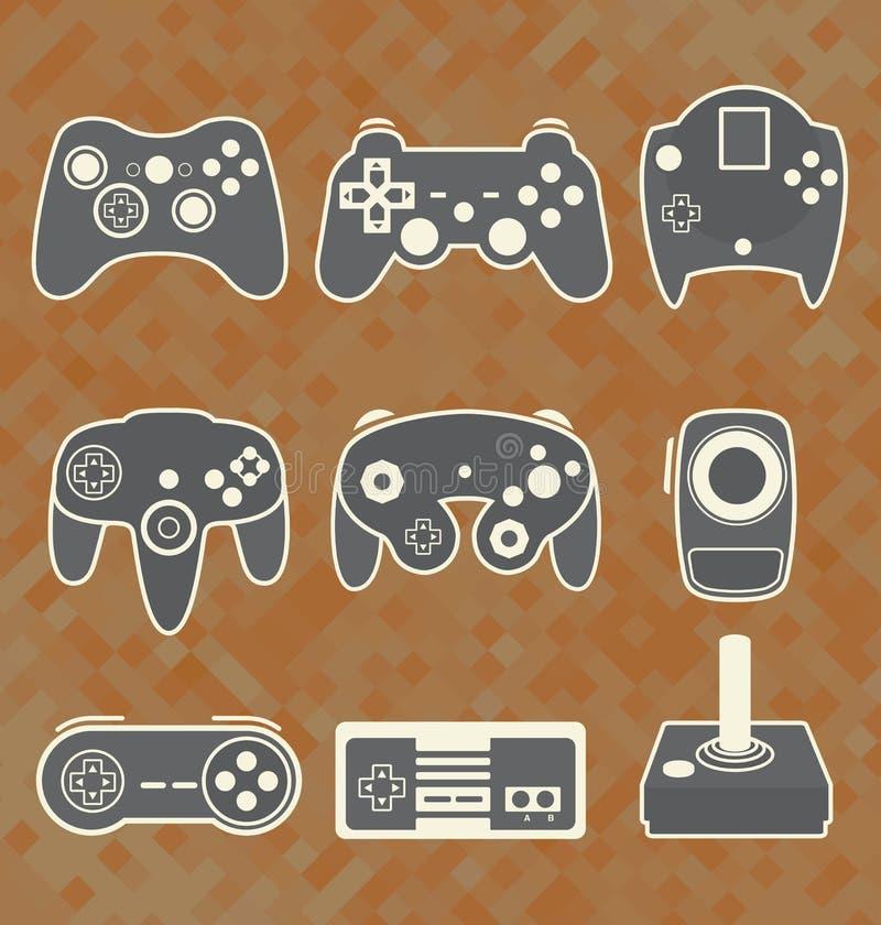 Vetor ajustado: Controlador Silhouettes do jogo de vídeo ilustração royalty free