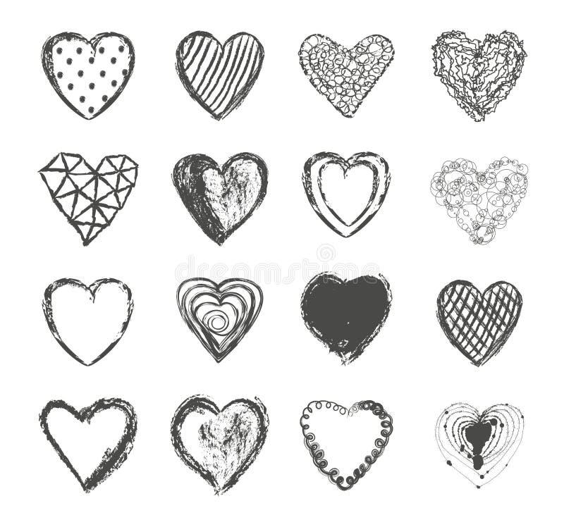 Vetor ajustado corações do dia de Valentim ilustração stock