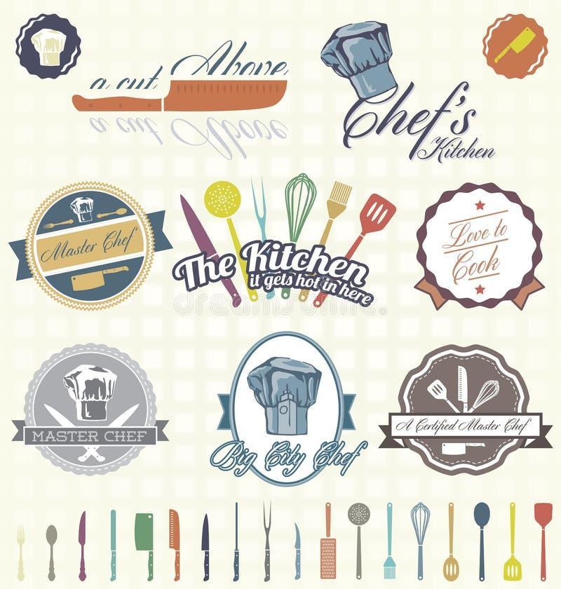 Vetor ajustado: Cozinheiro chefe retro Labels e ícones ilustração do vetor