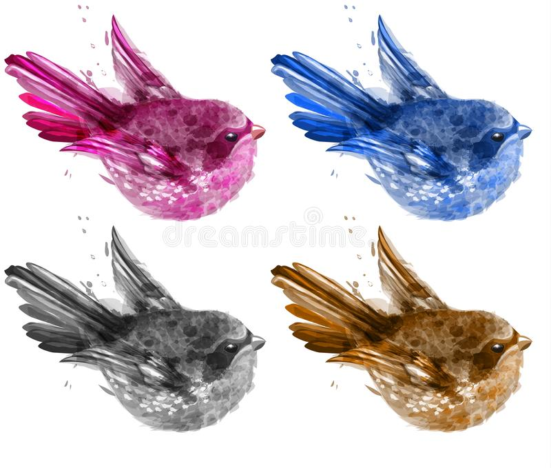 Vetor ajustado da aquarela pássaros pequenos coloridos estilos pintados da ilustração coleção bonita ilustração royalty free