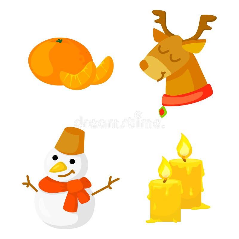 Vetor ajustado da coleção do ícone do Natal cartoon Símbolos tradicionais do ano novo e objetos dos ícones Boneco de neve, cervo, ilustração stock