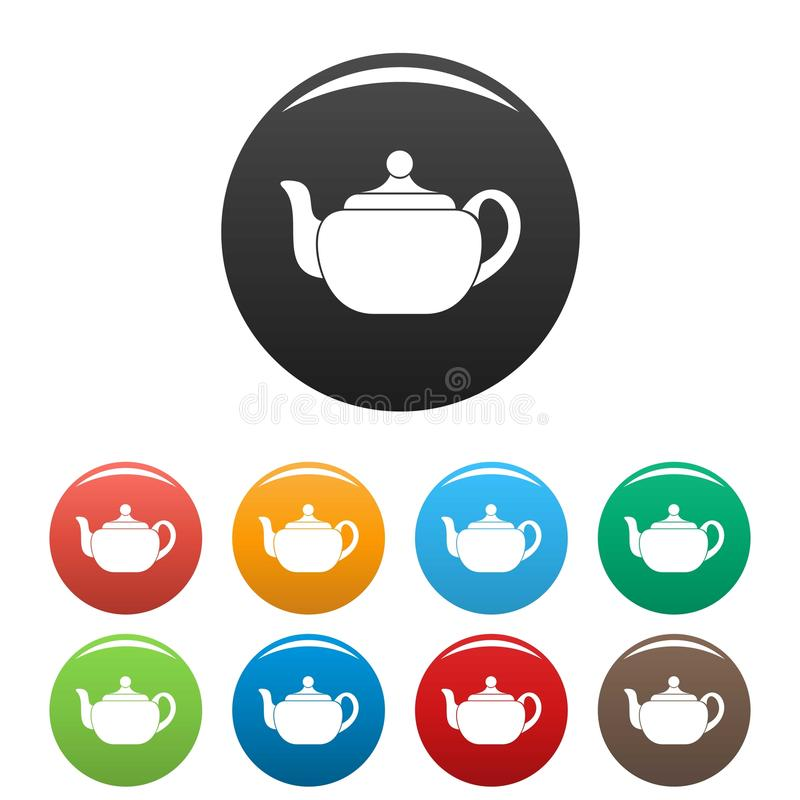 Vetor ajustado da cor do bule ícones pequenos ilustração royalty free