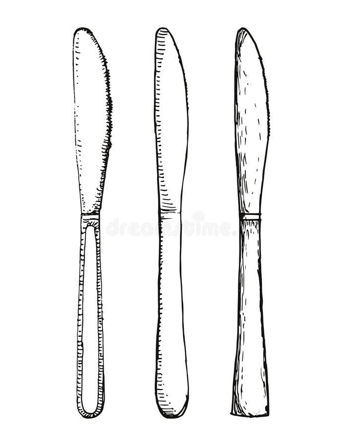 Vetor ajustado da cozinha das facas Desenho da mão ilustração do vetor