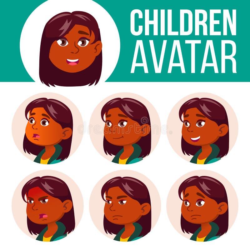 Vetor ajustado da criança do Avatar da menina Escola preliminar Indiano, hindu Asiático Enfrente emoções Usuário, caráter Lazer,  ilustração do vetor
