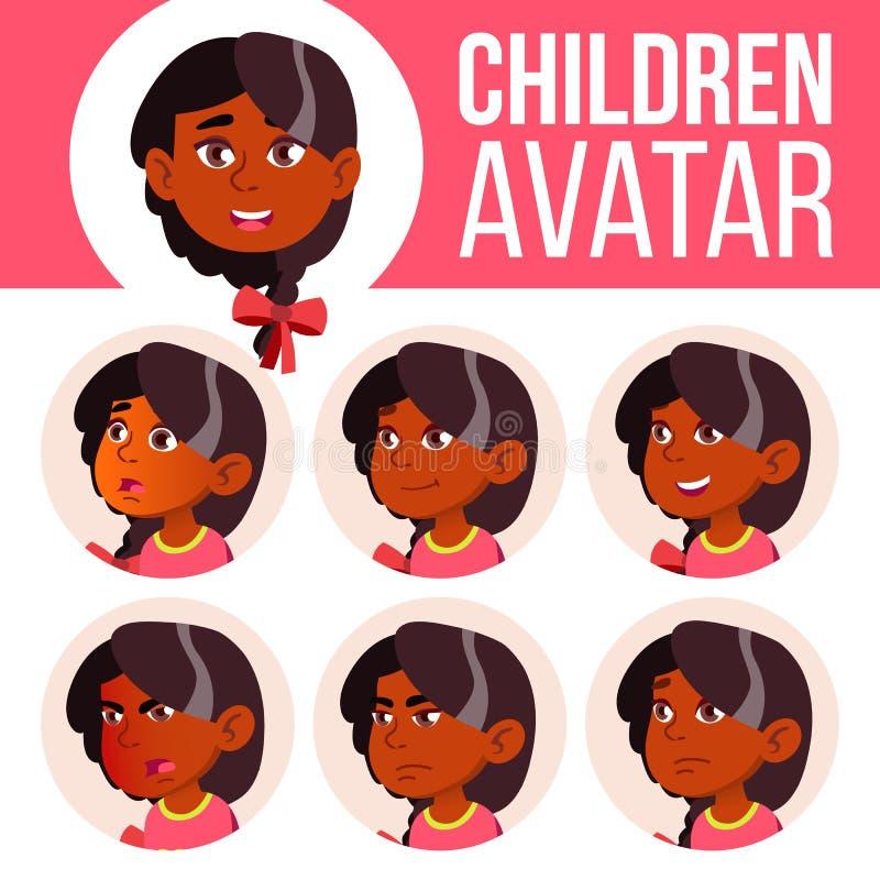 Vetor ajustado da criança do Avatar da menina kindergarten Indiano, hindu Asiático Enfrente emoções Infância feliz, pessoa positi ilustração stock