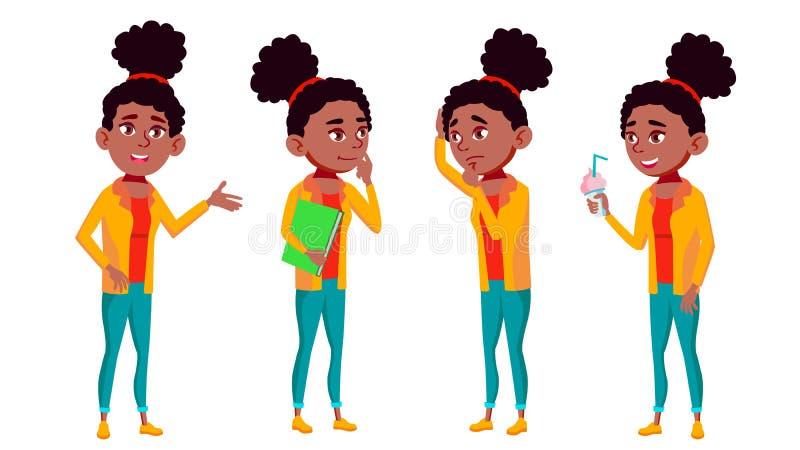 Vetor ajustado da menina poses adolescentes Divertimento, alegre preto Afro-americano Para a Web, cartaz, projeto da brochura Des ilustração stock