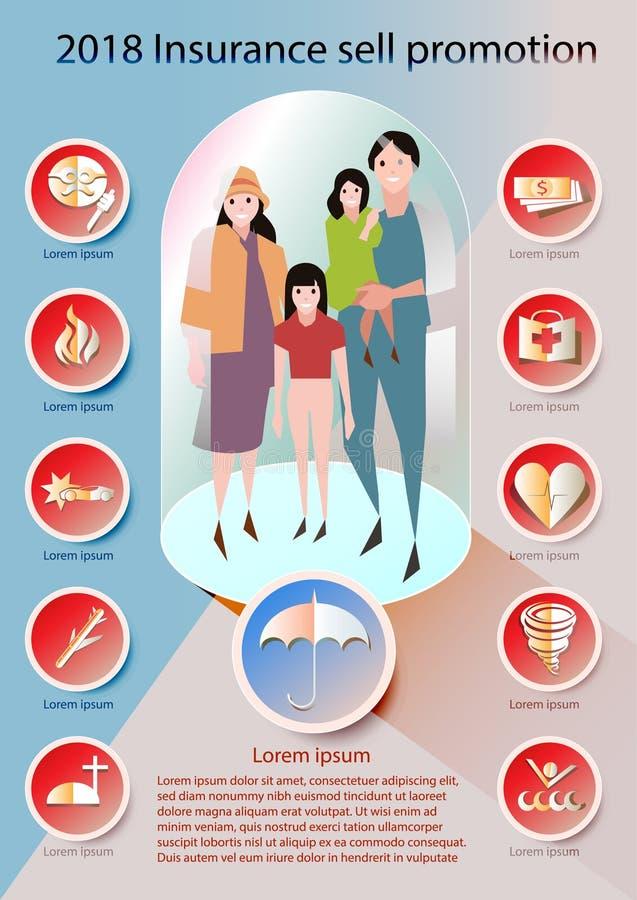 Vetor ajustado da propaganda da venda do ícone do seguro estilo de papel da arte foto de stock
