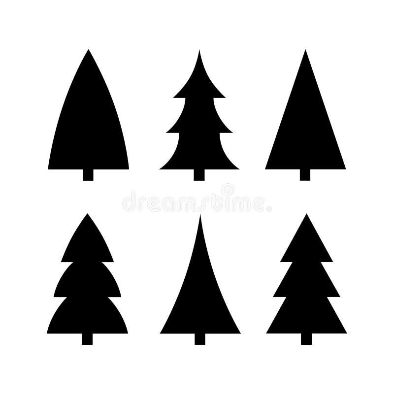 Vetor ajustado da silhueta preta do ícone da árvore de Natal ilustração do vetor