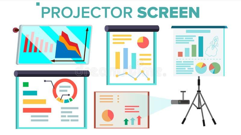 Vetor ajustado da tela do projetor Apresentação com gráfico whiteboard Seminário, leitura, conferências de negócio, pessoal de fo ilustração do vetor