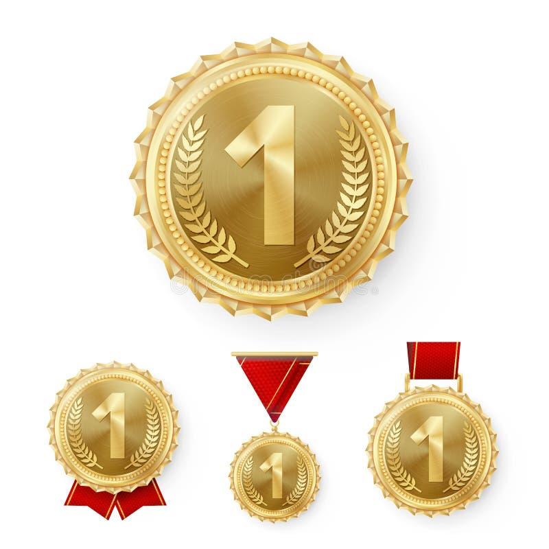 Vetor ajustado das medalhas de bronze do campeão Realização realística do vencedor da colocação do metal ó Número três Medalha re ilustração stock