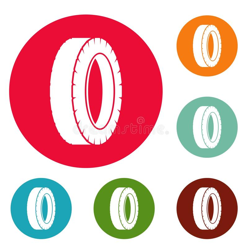Vetor ajustado de giro do círculo dos ícones do pneu ilustração royalty free