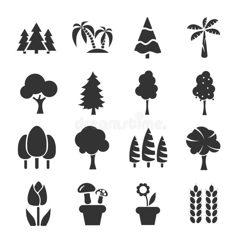 Vetor ajustado do ícone da árvore ilustração do vetor