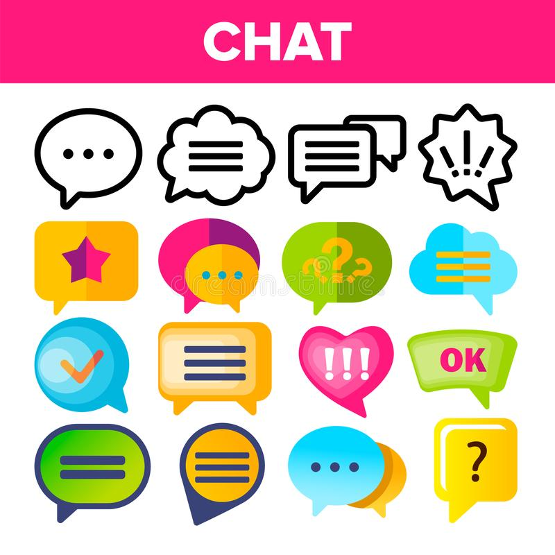 Vetor ajustado do ícone da bolha do discurso O discurso da conversação do diálogo do bate-papo borbulha ícones Pictograma do App  ilustração do vetor