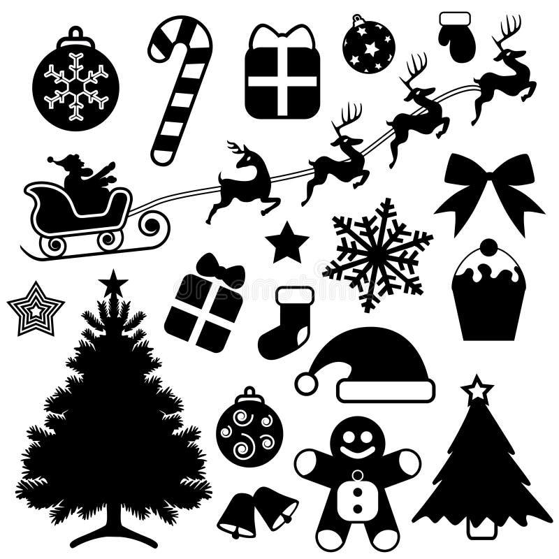 Vetor ajustado do ícone do Natal ilustração stock