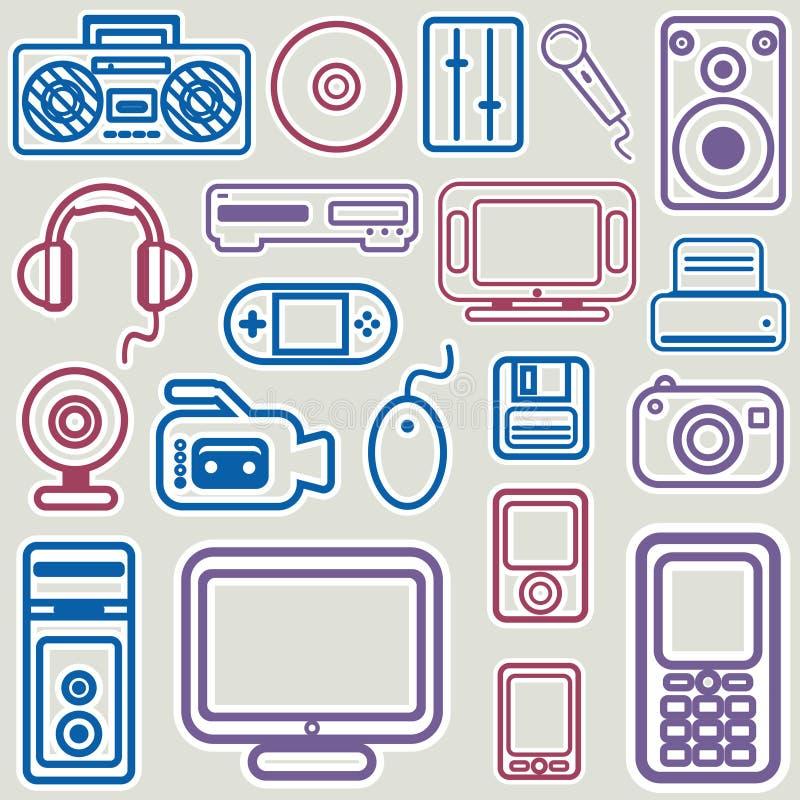 Vetor ajustado do ícone eletrônico ilustração royalty free