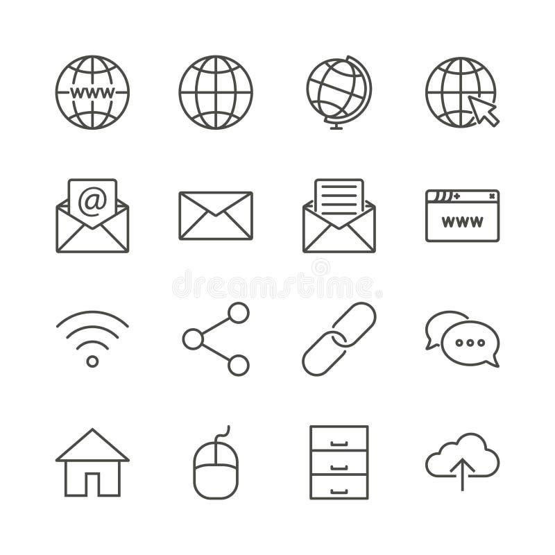 Vetor ajustado do ícone do Internet Linha coleção do símbolo da rede isolada Ui liso s do esboço da mensagem na moda ilustração stock