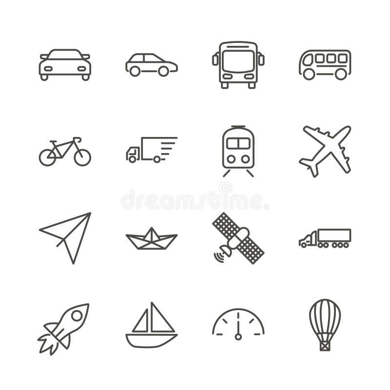 Vetor ajustado do ícone do transporte Coleção do transporte do esboço Auto projeto liso na moda do sinal Li fino ilustração stock