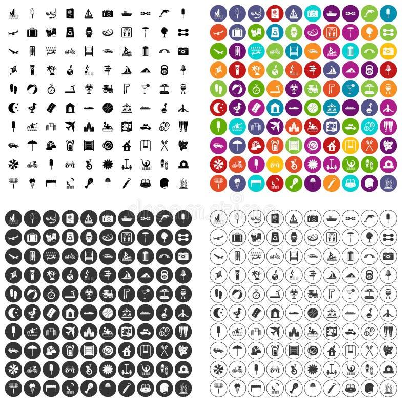 100 vetor ajustado do acampamento de verão ícones variante ilustração stock