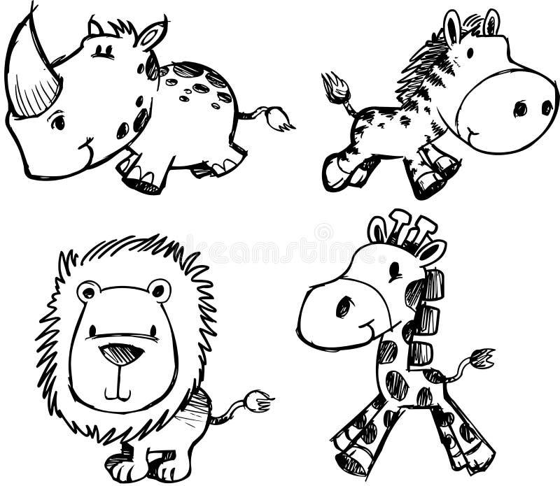 Vetor ajustado do animal do esboço ilustração stock