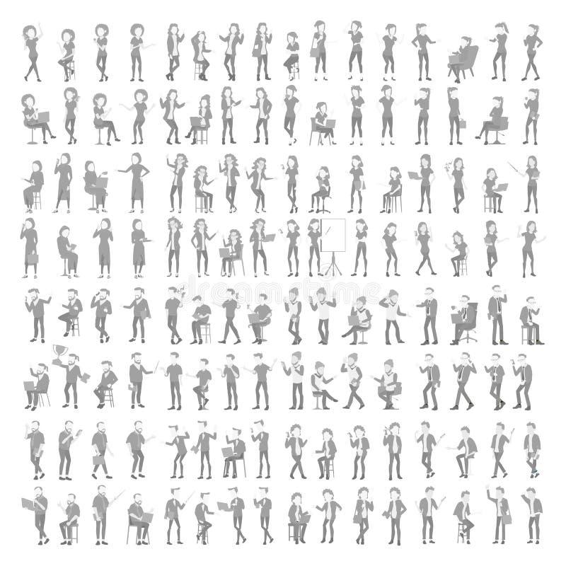 Vetor ajustado do Avatar do Placeholder Perfil Gray Picture Retrato cheio do comprimento Homem, foto fêmea do defeito Homem de ne ilustração stock