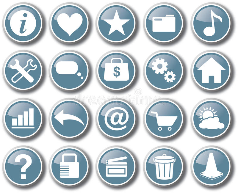 Vetor ajustado do botão do ícone da Web do Internet ilustração do vetor