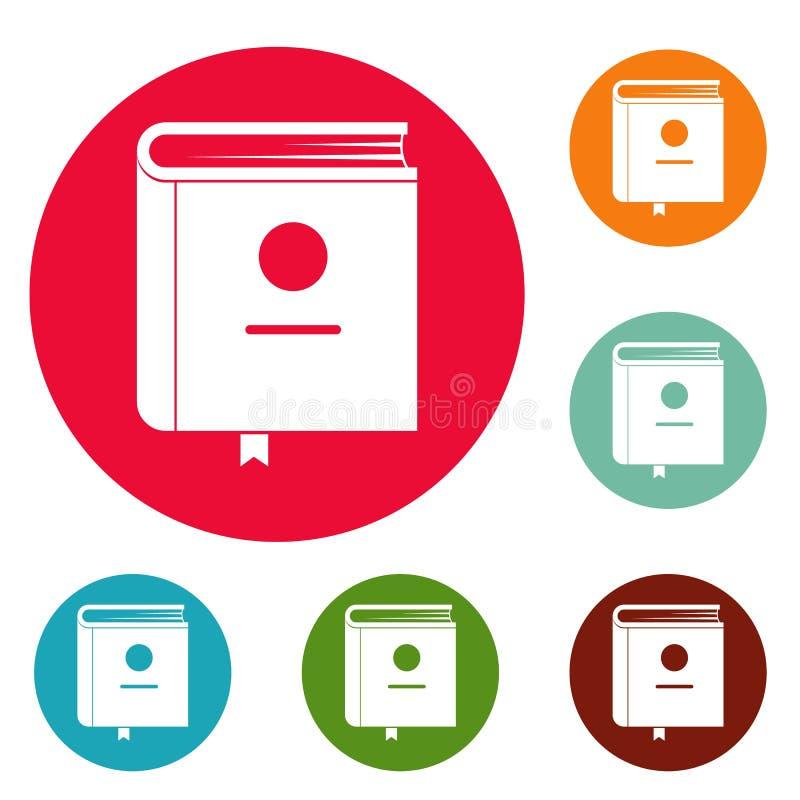 Vetor ajustado do círculo dos ícones da enciclopédia do livro ilustração royalty free