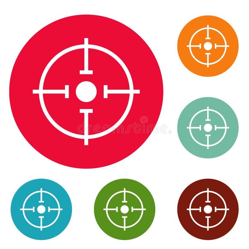 Vetor ajustado do círculo importante dos ícones do alvo ilustração royalty free