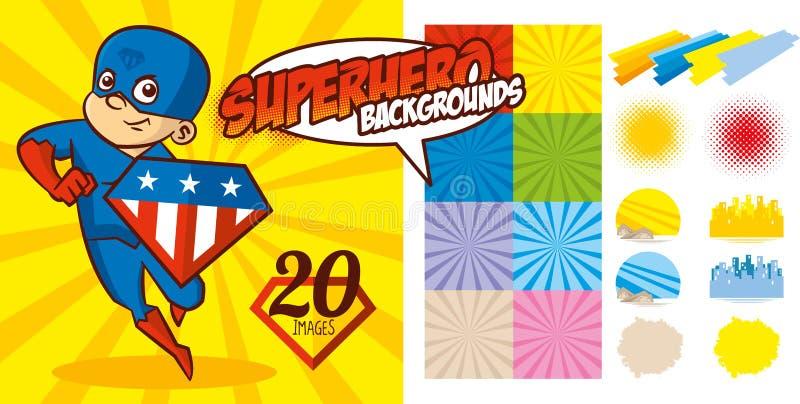 Vetor ajustado do caráter do super-herói do fundo do super-herói ilustração royalty free