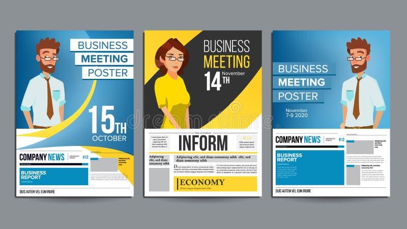 Vetor ajustado do cartaz da reunião de negócios Homem de negócios e mulher de negócio disposição Conceito da apresentação Bandeir ilustração royalty free
