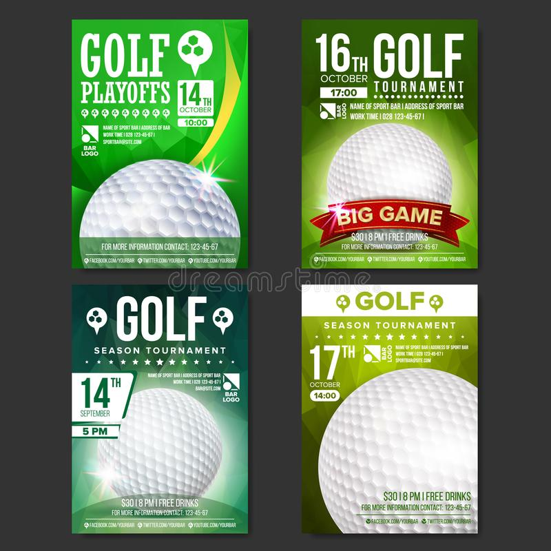 Vetor ajustado do cartaz do golfe Projeto para a promoção da barra de esporte Esfera de golfe Competiam moderno Anúncio do evento ilustração do vetor