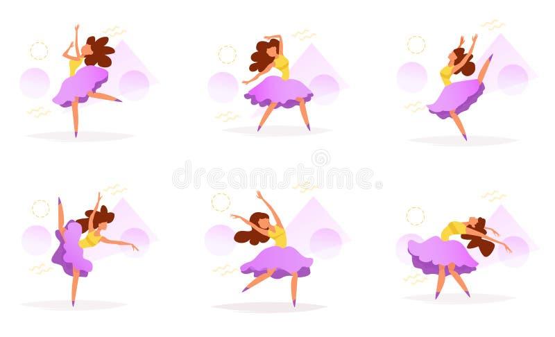 Vetor ajustado do dançarino cartoon ilustração stock