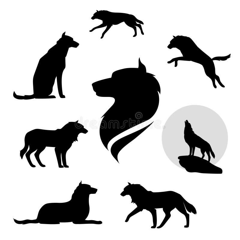 Vetor ajustado do lobo ilustração stock