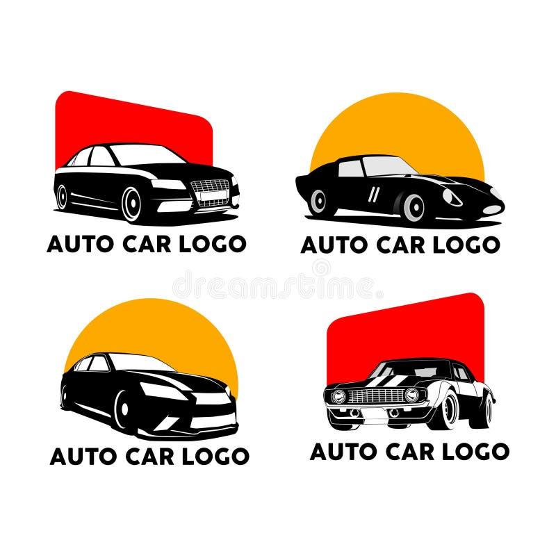 Vetor ajustado do logotipo vermelho e alaranjado do carro da silhueta auto ilustração stock