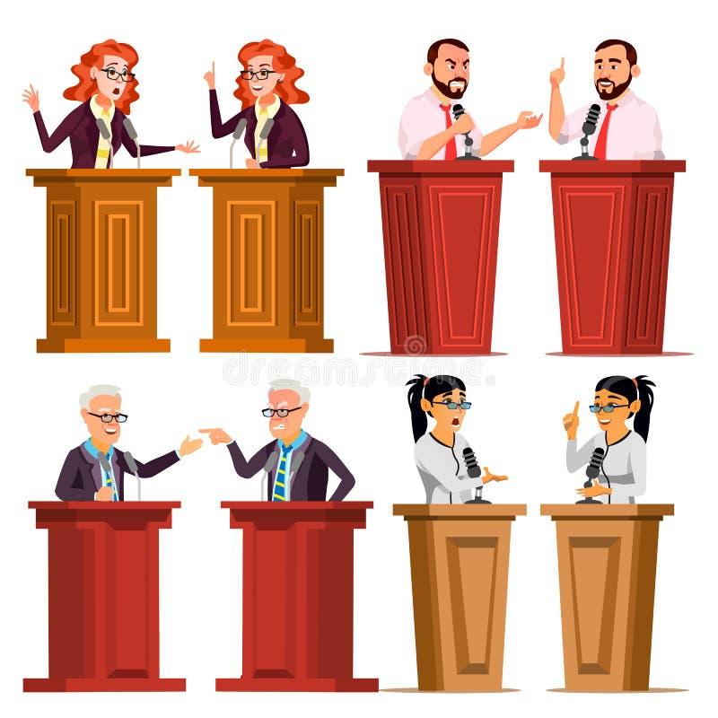 Vetor ajustado do orador Homem, mulher que dá o discurso público Homem de negócios, político debates apresentação Plano isolado ilustração royalty free