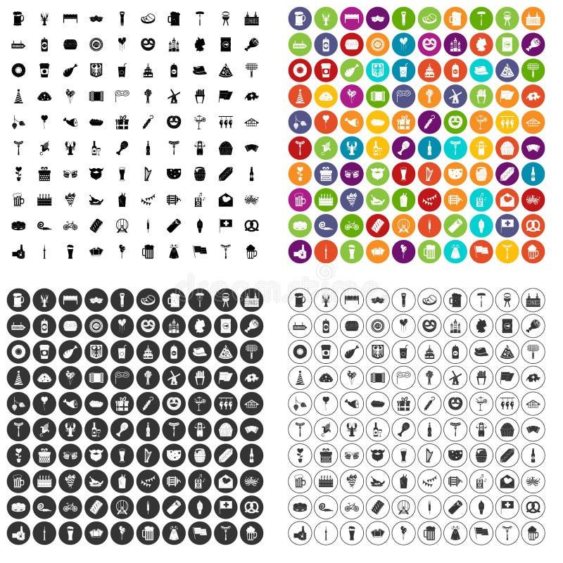 100 vetor ajustado do partido da cerveja ícones variante ilustração do vetor