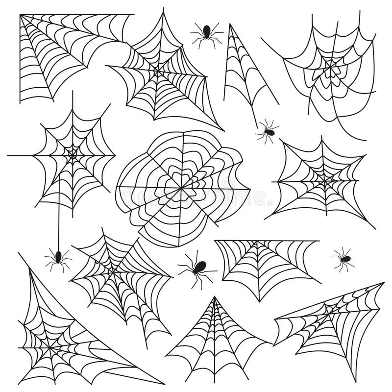 Vetor ajustado do preto do Dia das Bruxas da Web de aranha da teia de aranha ilustração stock