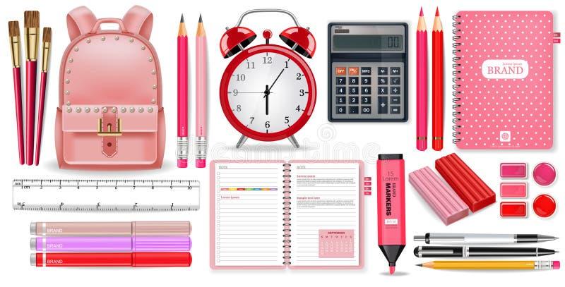 Vetor ajustado do rosa das fontes de escola realístico Ferramentas do despertador, da calculadora, do caderno e da pena Ilustraçõ ilustração stock