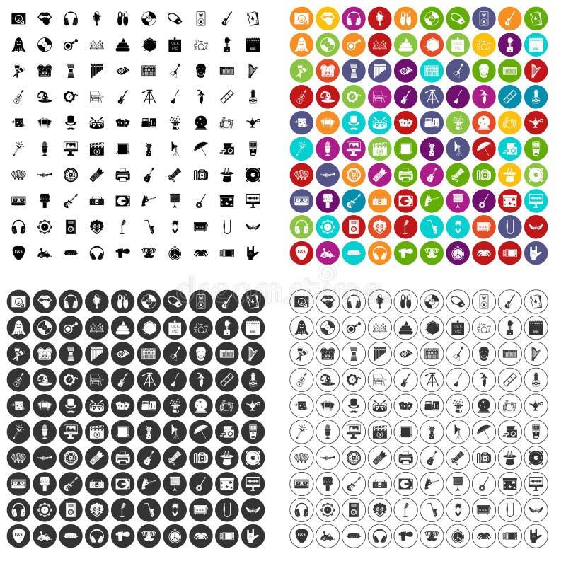 100 vetor ajustado do show business ícones variante ilustração do vetor