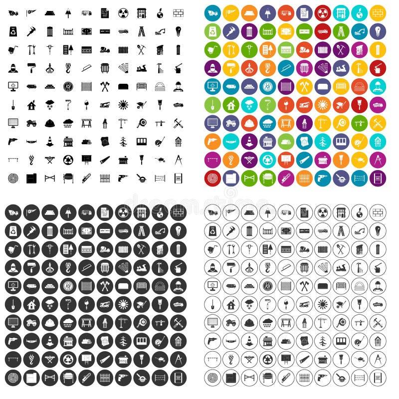 100 vetor ajustado dos materiais de construção ícones variante ilustração royalty free