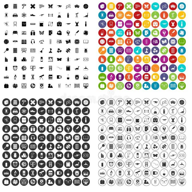 100 vetor ajustado dos materiais de ensino ícones variante ilustração royalty free