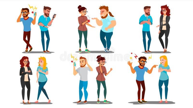Vetor ajustado dos povos da discussão Trabalhadores de escritório do conceito, caráteres do relacionamento do marido da esposa Co ilustração stock