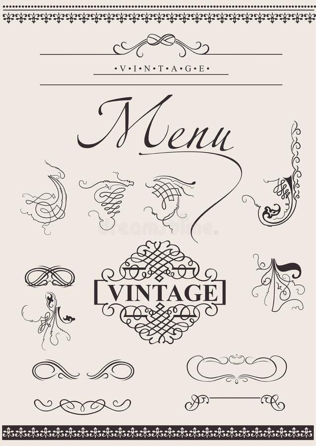 Vetor ajustado: Elementos caligráficos do projeto ilustração royalty free