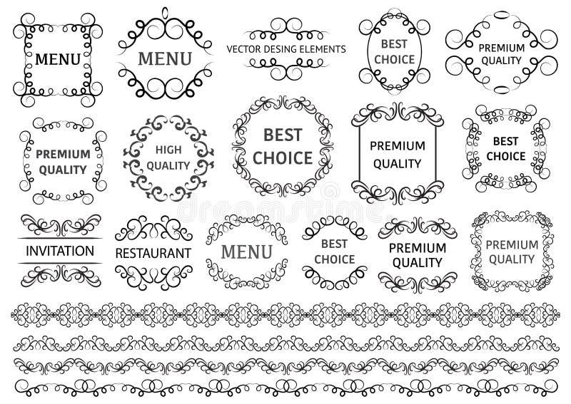 Vetor ajustado: elementos do projeto e decoração caligráficos da página Os redemoinhos decorativos ou os rolos, vintage moldam, f ilustração do vetor