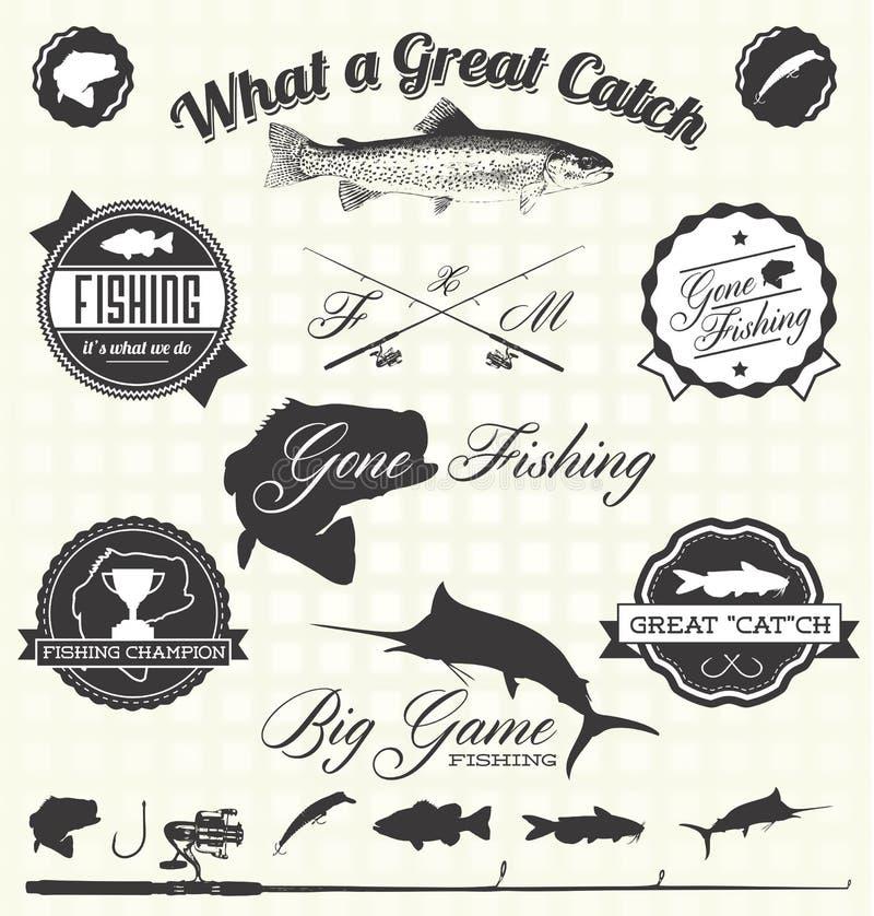Vetor ajustado: Etiquetas de pesca idas ilustração stock