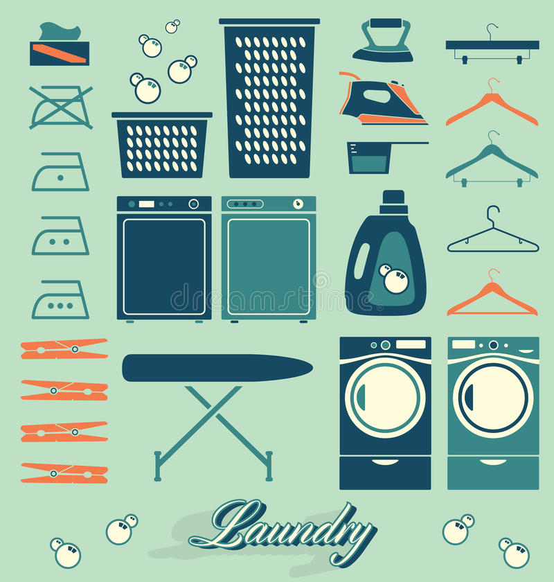 Vetor ajustado: Etiquetas e ícones da lavandaria ilustração stock