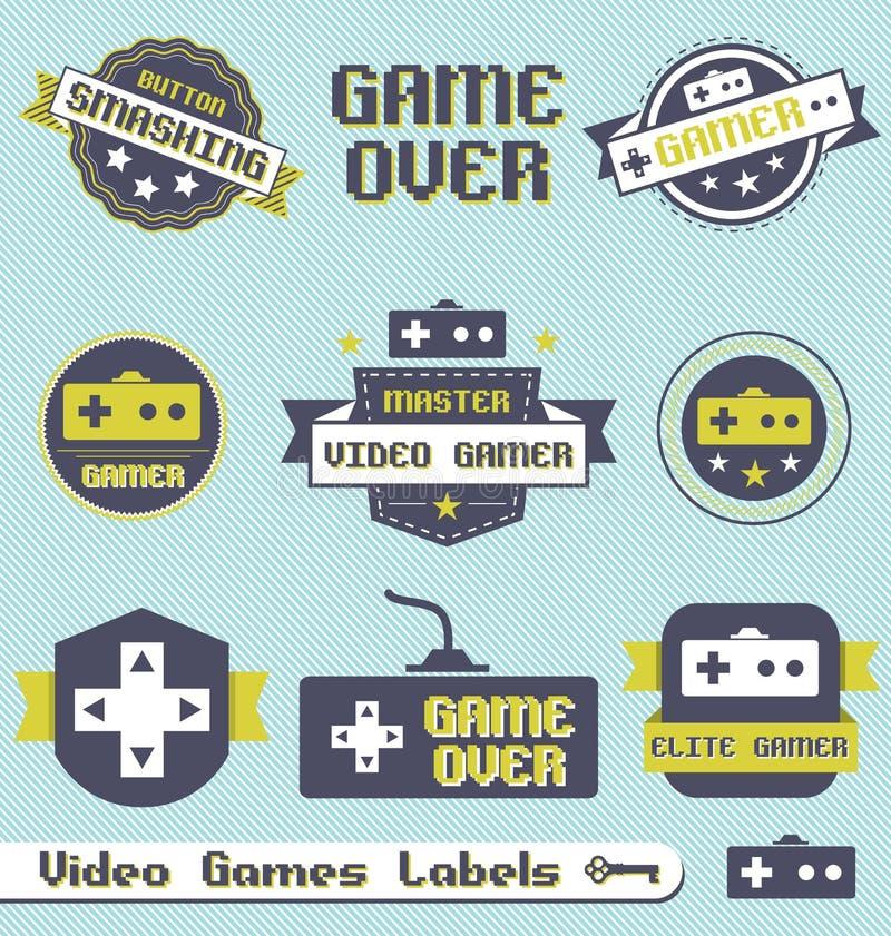 Vetor ajustado: Etiquetas e ícones do jogo video do vintage ilustração stock