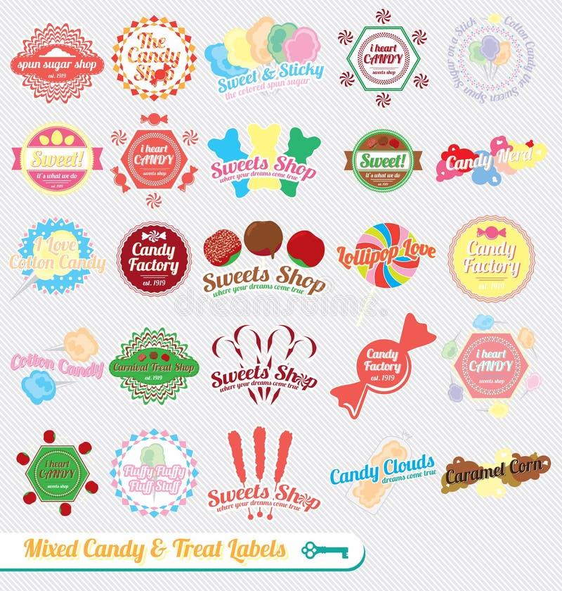 Vetor ajustado: Etiquetas misturadas retros dos doces