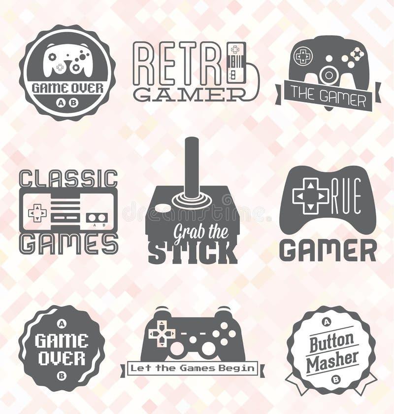 Vetor ajustado: Etiquetas retros e ícones do jogo de vídeo ilustração stock