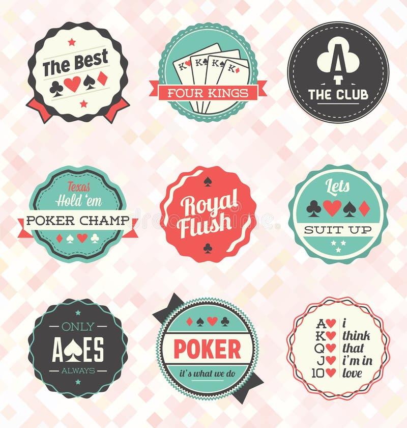 Vetor ajustado: Etiquetas retros e ícones do pôquer ilustração stock