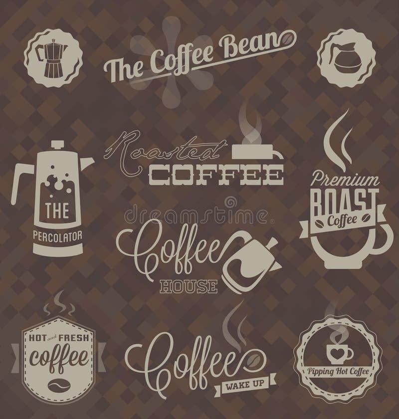 Vetor ajustado: Etiquetas retros e símbolos da cafetaria ilustração royalty free
